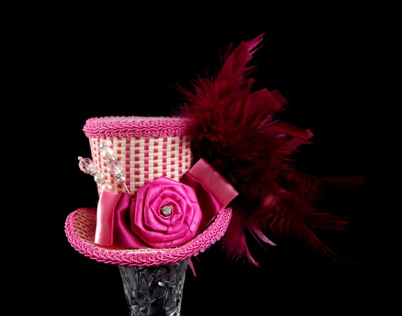 Pink, Burgundy, and Cream Rosette Medium Mini Top Hat Fascinator, Alice in Wonderland, Mad Hatter Tea Party, Derby Hat