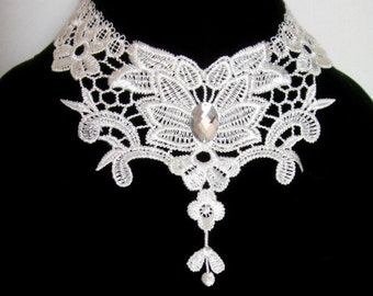 SALE vintage lace bib choker  - bridal necklace - floral lace wedding - white victorian silver beaded bridal jewelry