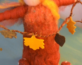 Autumn Fairy standing on  a felted base with pumpkin and toadstool Needle Felted made to order