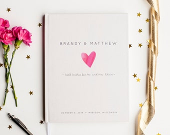 Wedding Guest Book Wedding Guestbook Custom Guest Book Personalized Customized custom design wedding gift keepsake watercolor pink heart new
