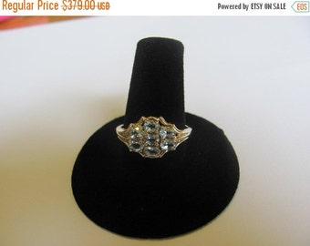 Vintage 10 Karat Gold Ring, Seven (7) Blue Topaz,  Precious Gems, Collectible Jewelry