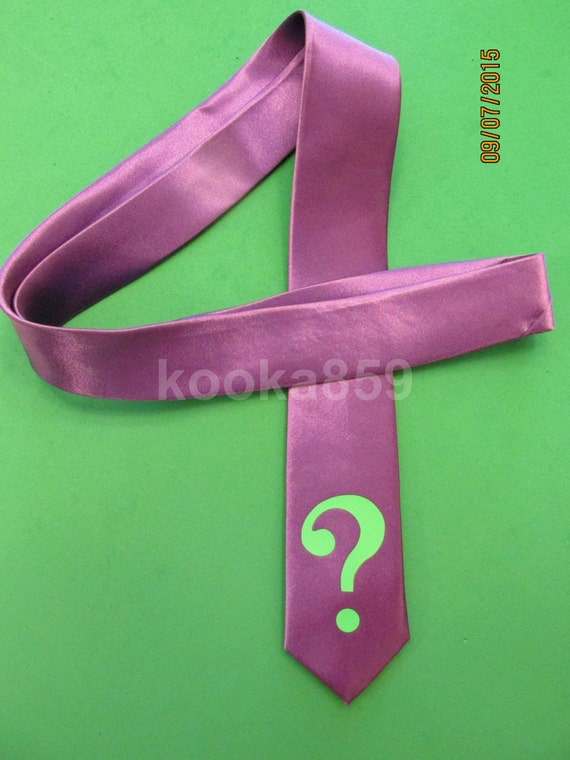 riddler inspired purple tie with neon green question