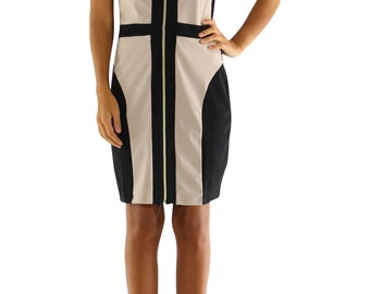 Two Tone Beige and Black Bodycon Thick Jersey Dress.