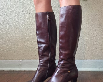 Salvatore Ferragamo Boots - Leather Knee High Stacked Heel Boots // Chocolate Brown Size 9B