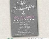 Grey First Communion Invitation - Baptism Invitation - 1st Communion