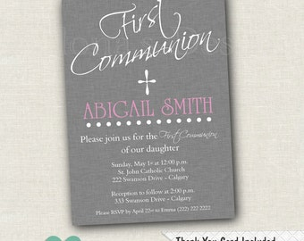 Grey First Communion Invitation - Baptism Invitation - 1st Communion