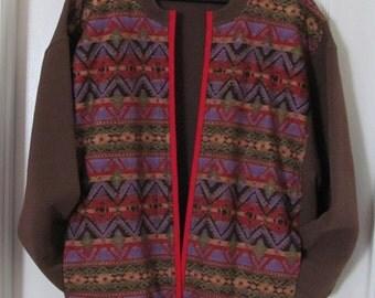 Brown  Multi-colored Southwest Sweatshirt Jacket