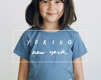 Hand-printed Kids Tee | blue organic cotton | Three Yellow Flowers print