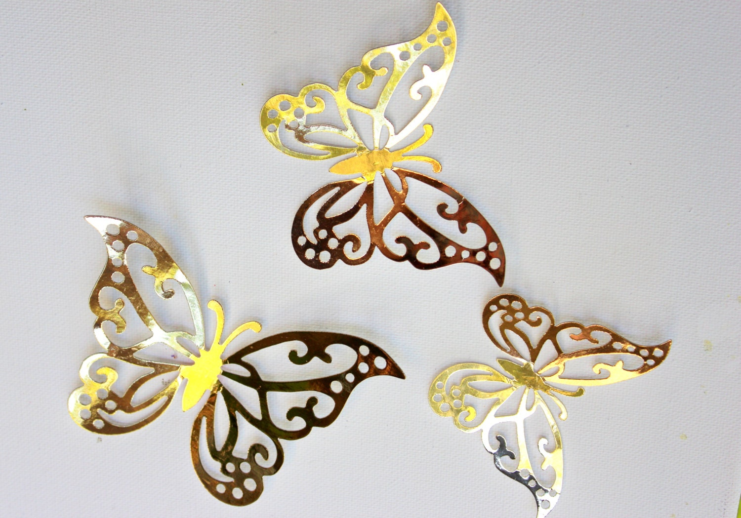 Wall Art Decor Gold : Gold wall decor butterfly d by