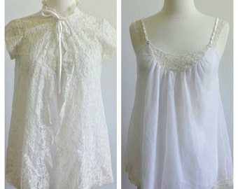 Vintage 1970s Intime  of California Babydoll With Lace Peignoir Robe Size Small