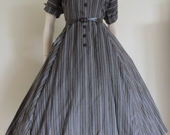 ON SALE NOS Stunning 50s Striped Chevron Print Day Dress / Secretary / Large / New Look