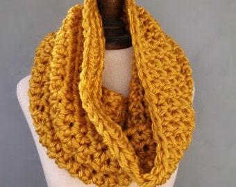 Chunky Cowl Neckwarmer Womens Crochet Infinity Scarf in Mustard