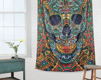 Psychedelic Tapestry 3d skull wall hanging  dmt lsd Day of the dead