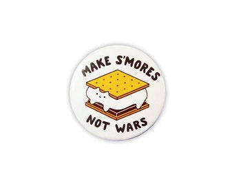 "Make S'more Not Wars 1.5"" Pinback Button - Cute Cat Illustration Pin/Badge - by Sparkle Collective"