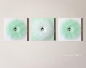 Mint Nursery, Nursery Decor, Flower Wall Decor, Mint Flower, White Canvas, Mint Home Decor, SET OF THREE