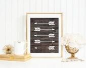 Arrow Art Print, Wood Background Art Print, Arrow Silhouette, Rustic Home Decor, Tribal Decor