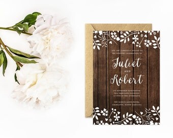 Wood Wedding Invitations, Rustic Floral Wedding Invitation