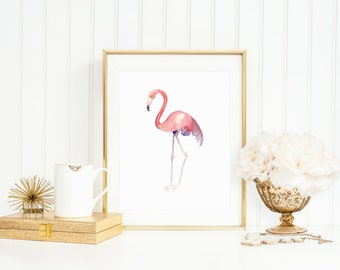 Flamingo Art Print, Watercolor Flamingo, Pink Flamingo Print for Nursery, Home Decor