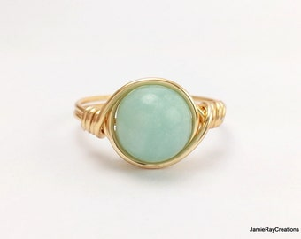 Amazonite Ring, Gold Wire Wrap Ring, Blue Green Gemstone Wrap Goldtone Wire Ring Boho Hippie Ring Wedding Bridesmaid Jewelry Stone Wrap Ring