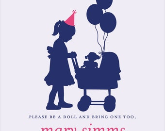 Classic Baby Doll Birthday Invitation | Digital Download