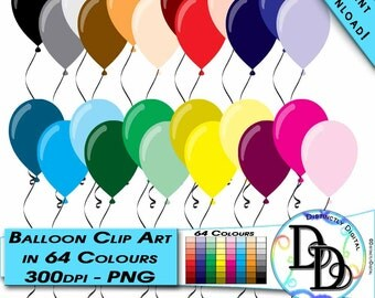 Clip Art Balloons in 64 Colours Printable Digital Clipart for Party Decor, Invitations or Scrapbooks Instant Download Commercial Use CA0019