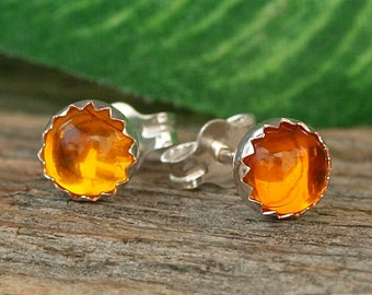 Amber Studs, Amber Gemstone Earrings, 5mm Amber Sterling Silver Stud Earrings, Amber Post Earrings, Petite Amber Stud Earrings