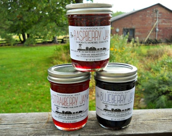 Lot of 3 Homemade Jams - Over 50 Flavor Choices - Handcrafted Jam Jelly Preserves Marmalade - Housewarming Gift - Hostess Gift - Food Gift