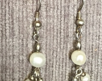 Sterling Silver and Mother Of Pearl Dangle Earrings