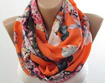 Infinity Scarf Women Loop Scarf Floral Circle Scarf Spring Summer Fall Winter Fashion Scarf Women Fashion Accessory Christmas Gift For Her