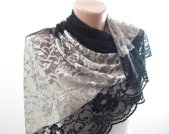 Black Lace Scarf Shawl Tulle Scarf Black Wedding Shawl Scarf Bridesmaids Gift Bridal Accessories Fashion Accessories Christmas Gifts For Her