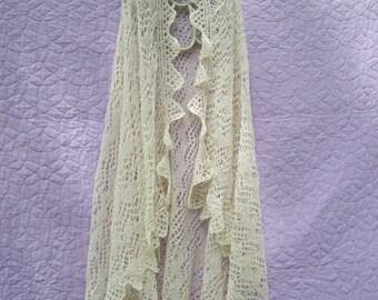 Shetland Isles shawl, cream lace shawl, heirloom wrap, handknit wedding shawl, cream lace wrap, heirloom shawl, Alpaca knit shawl