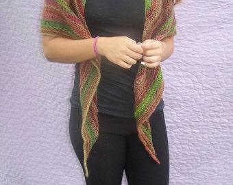 Multi color shawl, triangle shawl, multi color wrap, triangle wrap, fall colors shawl, green brown red shawl