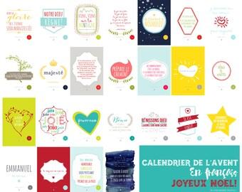 Calendrier de L'avent En Français //  25 4x6 Imprimable // Digital Files // Printable // INSTANT DOWNLOAD