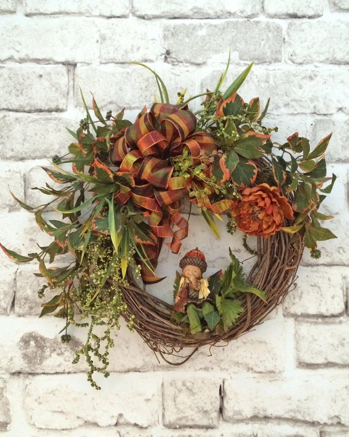 Sale Acorn Fall Wreath Front Door Wreath Grapevine Wreath