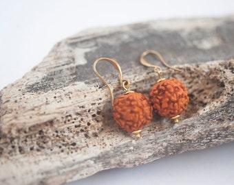 Natural Rudraksha Earrings ~ Brass Earrings ~ Tears Of Shiva ~ Bohemian Dangle Earrings ~ Boho ~ Boho Chic ~ Gypsy ~ Tribal ~ Meditation
