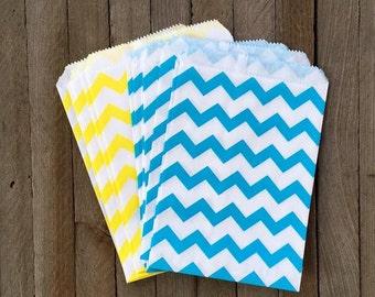 48 Blue, Yellow and White Favor Bags --Candy Favor Bags--Chevron Goodie Bags--Chevron Party Sacks--Birthday Treat Sacks