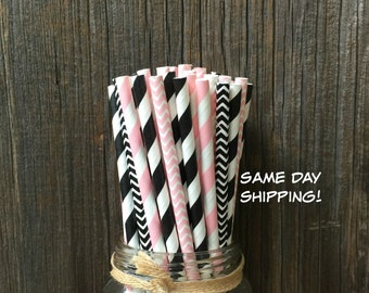 100  Black and Pink Striped and Chevron Straws, Diva Party, Birthday, Wedding, Party Supply, Free Shipping!