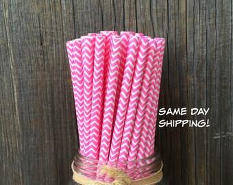 75 Bubblegum Pink Chevron Straws, Baby Shower, Bridal Luncheon, Birthday Party Supply