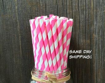 Pink Paper Straws, 100 Stripe Straws, Birthday Party, Bubblegum Pink Straws, Baby Shower, Wedding Supply,  Free Shipping