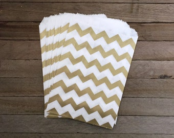 48 Gold Favor Bags--Chevron Favor Bags--Candy Favor Bags--Chevron Goodie Bags--Gold Chevron Party Sacks--Birthday Treat Sacks