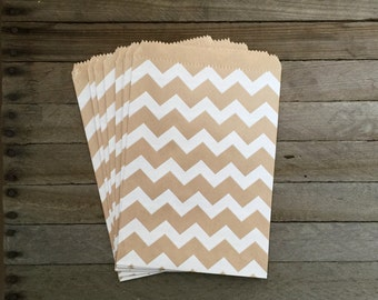 48 Kraft Favor Bags--Chevron Favor Bags--Candy Favor Bags--Chevron Goodie Bags--Kraft Chevron Party Sacks--Birthday Treat Sacks