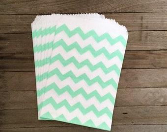 48 Mint Favor Bags--Chevron Favor Bags--Candy Favor Bags--Chevron Goodie Bags--Mint Chevron Party Sacks--Birthday Treat Sacks