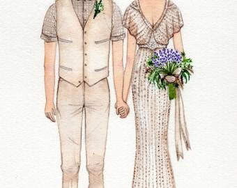Custom wedding illustration ,custom weding dress,  watercolor portrait, Custom Wedding Portrait ,Wedding   portrait, custom illustration.