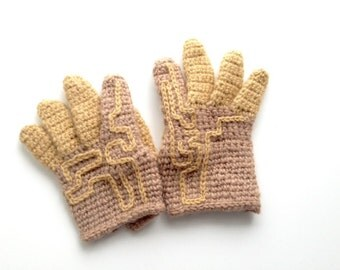 crocheted upcycling gloves alpaca wool