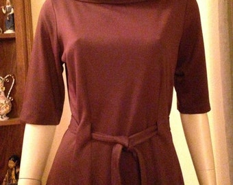 Great Vintage Brown Polyester/Cotton Knit Dress by Jonathan Martin