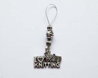 I Love Knitting Row Marker - Stitch Marker, Adjustable Snag Free Knitting Stitch Marker