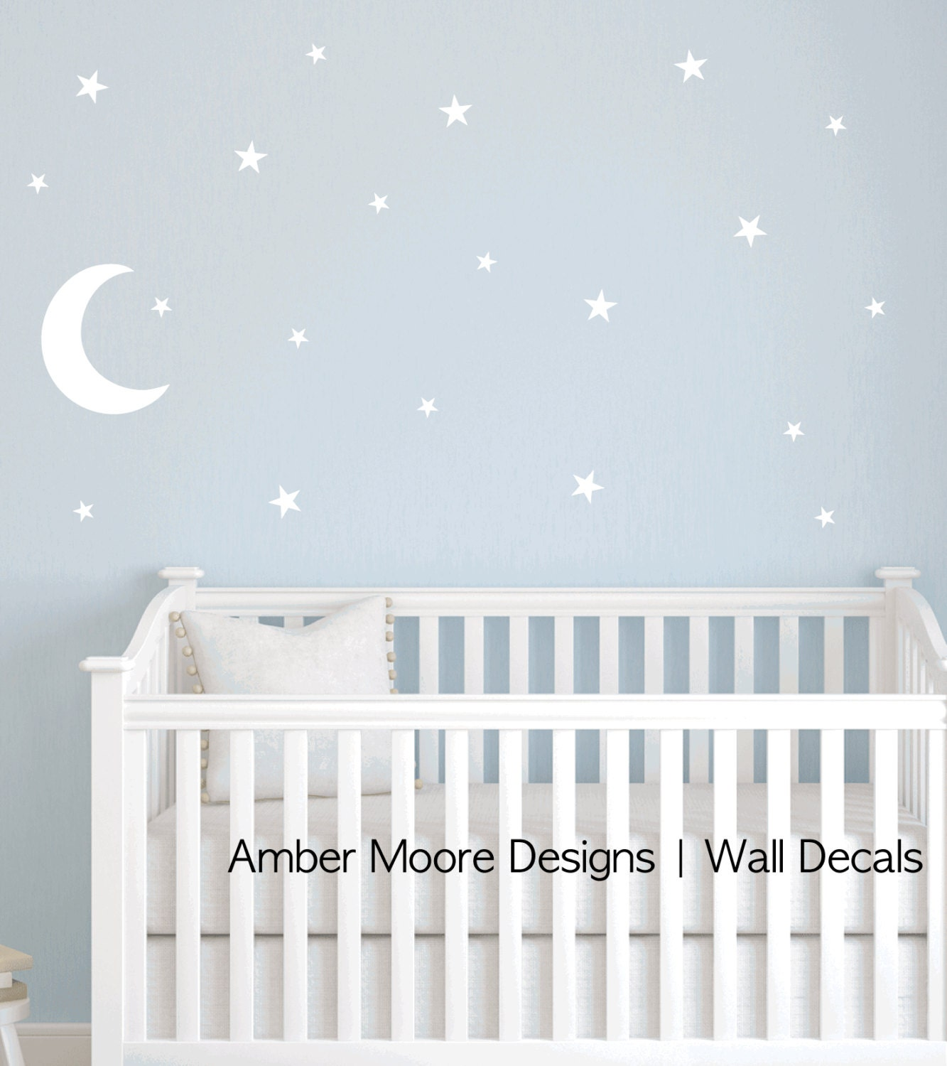 Moon and stars decal nursery star wall decal for Stickers pared bebe