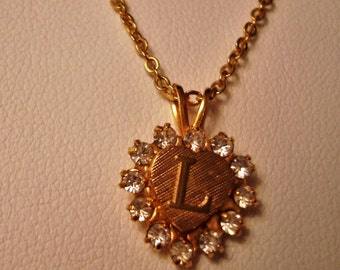"Vintage 10K Solid Gold Chain & Initial ""L"" Heart Pendant - ""Shelby Gem"" - Man-Made Gem - Circa 1979 - Stunning!!"