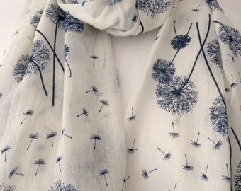 Cream Ivory Dandelion Scarf with a Navy Blue Floral Print, Ladies Flower Pattern Wrap Shawl, flowers Scarf