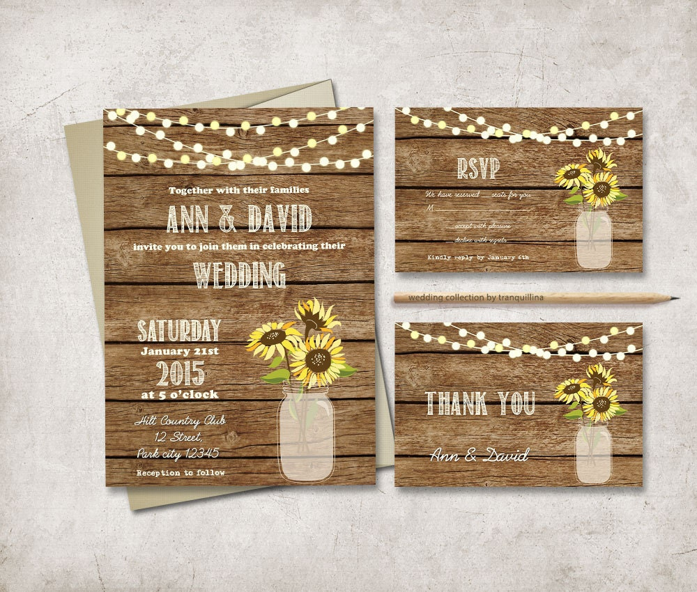 Sunflower Wedding Invitation Printable Rustic Wedding